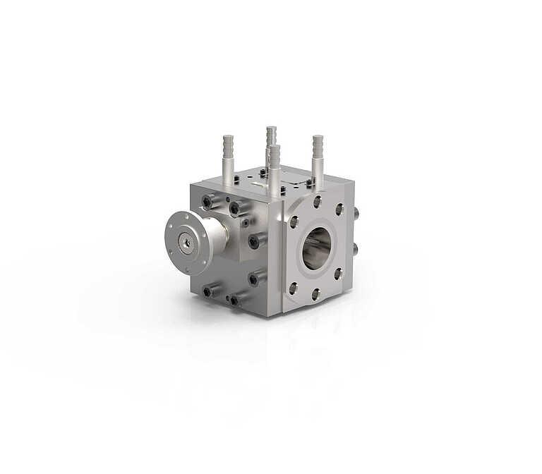 Melt pump in square design